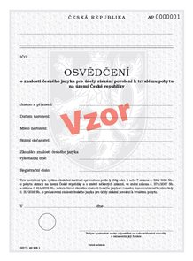 Osvědčení o znalosti ČJ pro účely získání povolení k trvalému pobytu na území ČR - nové