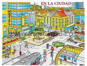 En la Cuidad - výukový plakát - španělština
