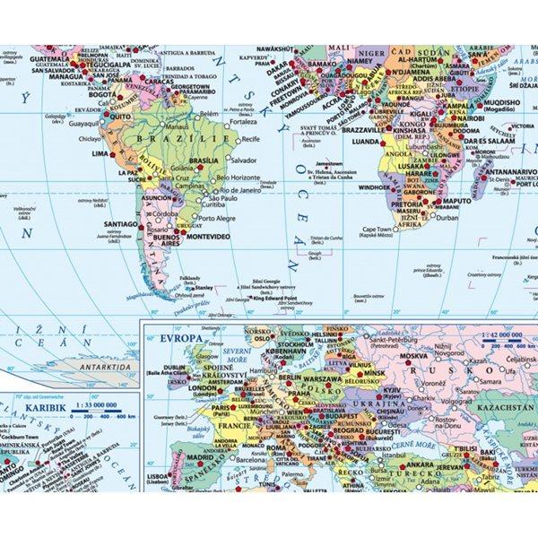 Podložka Svět fyzická a politická mapa 1: 85 mil. - 30x42
