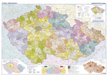 Česká republika -školní- administrativní - nástěnná mapa - 1:375 000 - 142x95cm