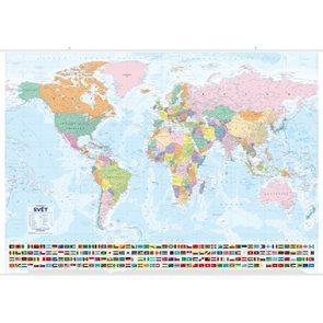 Svět nástěnná politická mapa s vlajkami