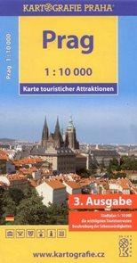 Praha 1:10 000 - mapa turistických zajímavostí - německá verze