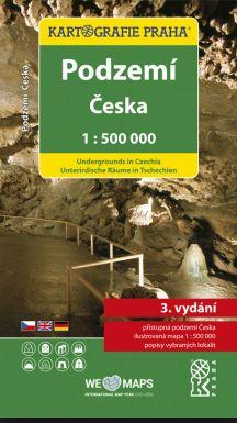 Podzemí České republiky - mapa Kartografie - 1:500 000 - 984x600mm (složená 123x230 mm)