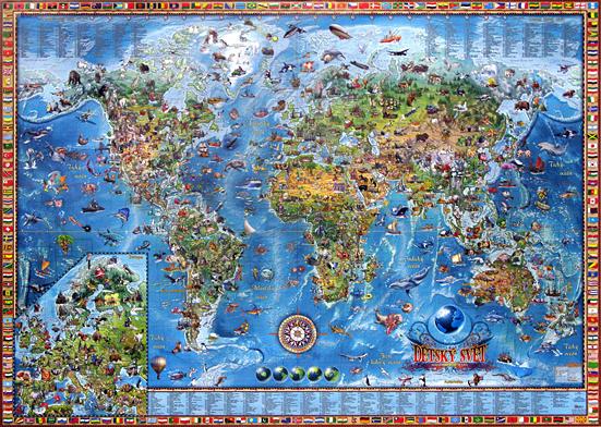 Rámovaný Dětský svět - ilustrovaná dětská mapa - 138x90 cm, Doprava zdarma