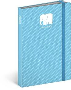 Notes s gumičkou Slon - modrý