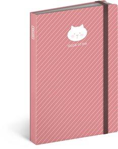 Notes s gumičkou Kočka - růžová