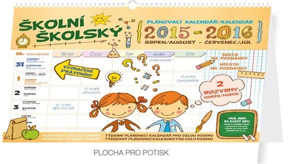 Kalendář nástěnný 2016 - Školní plánovací - s háčkem (srpen 2015 - červenec 2016) - neuveden - 30x21 cm