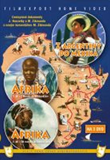 Afrika 1.+ 2. díl + Z Argentiny do Mexika - 3 DVD box - neuveden - 14x18,8