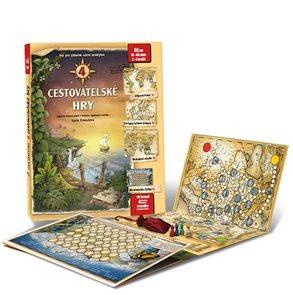 4 cestovatelské hry - Leporelo her s kostkou, figurkami a žetony, pro zábavné učení zeměpisu