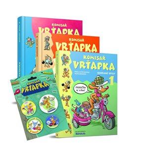 Komisař Vrťapka - Sebrané spisy 1-3 (komplet 3 knihy + odznáčky)